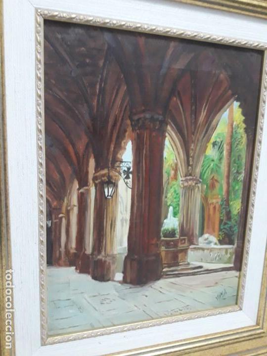 Arte: Magnifico cuadro pintura al oleo sobre tela Claustro firmado Vipla - Foto 7 - 160559794