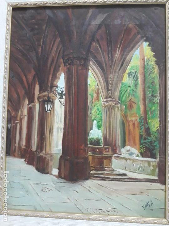Arte: Magnifico cuadro pintura al oleo sobre tela Claustro firmado Vipla - Foto 9 - 160559794