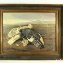 Arte: OLEO SOBRE TELA R COLLEL - AVES EN PAISAJE - CA 1920 . Lote 139523586