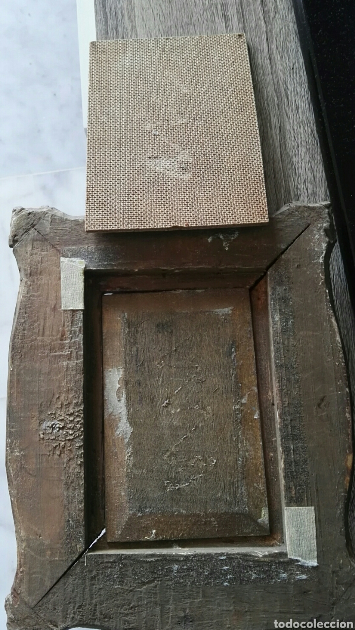 Arte: Espectacular pintura pequeña sobre tablero antiguo - Foto 2 - 139637897