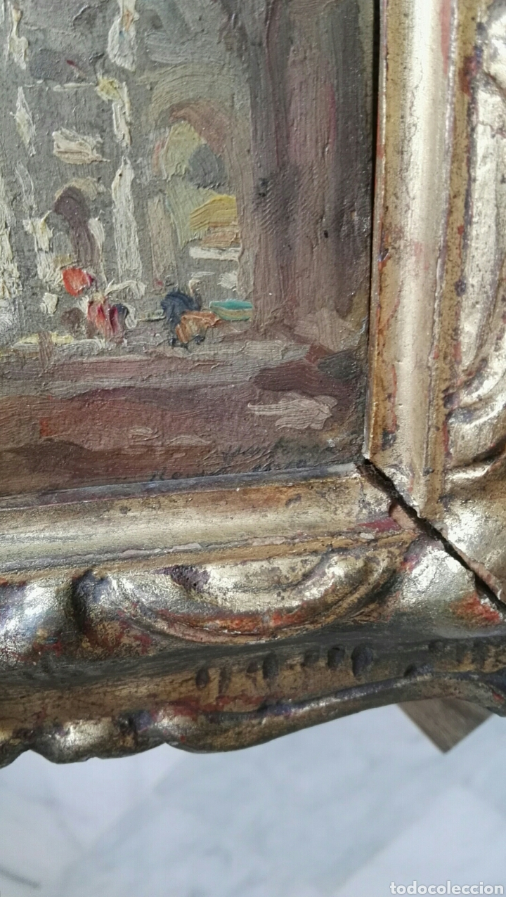 Arte: Espectacular pintura pequeña sobre tablero antiguo - Foto 4 - 139637897