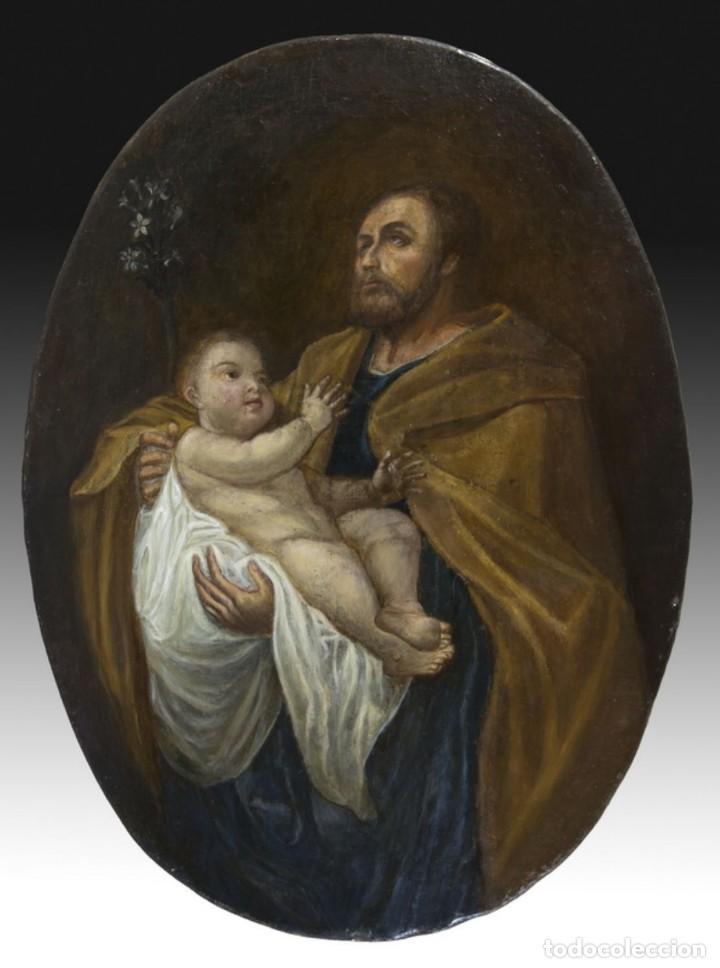 ÓLEO S/LIENZO -SAN JOSÉ CON EL NIÑO-. ESCUELA BARROCA SEVILLANA FINALES S. XVII. DIM.-79,5X59.5 CMS (Arte - Pintura - Pintura al Óleo Antigua siglo XVII)