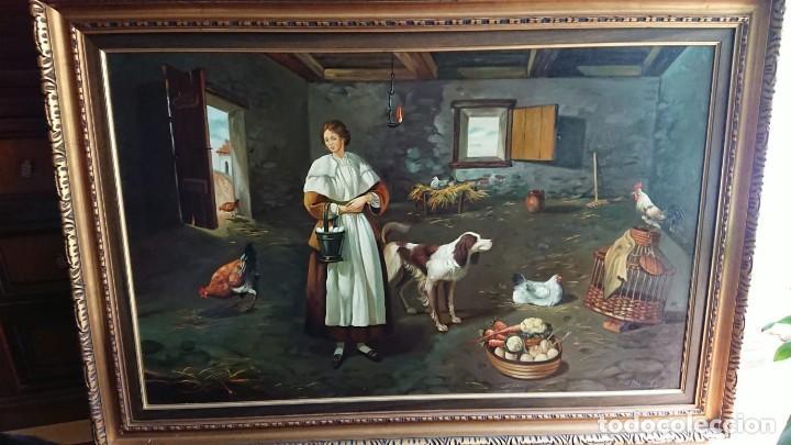 ÓLEO SOBRE LIENZO EL GALLINERO GRAN TAMAÑO (Arte - Pintura - Pintura al Óleo Contemporánea )