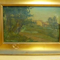 Arte: TELESFORO CUEVAS (1849-1934), PAISAJE ASTURIANO, ÓLEO SOBRE TABLA, FIRMADO. Lote 139704710