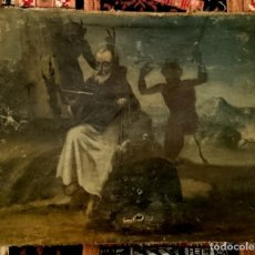 Arte: ANTIGUO ÓLEO SOBRE LIENZO, LAS TENTACIONES DE SAN ANTONIO ABAD. SIGLO XVI. 53X43 CM . Lote 139724802