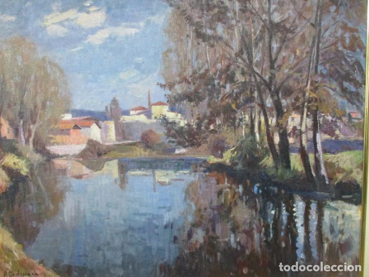 Arte: Ángel Codinach Campllonch (Olot 1922 -1995 Girona) - Paisaje Olot - Óleo sobre Tela - Foto 3 - 139782418