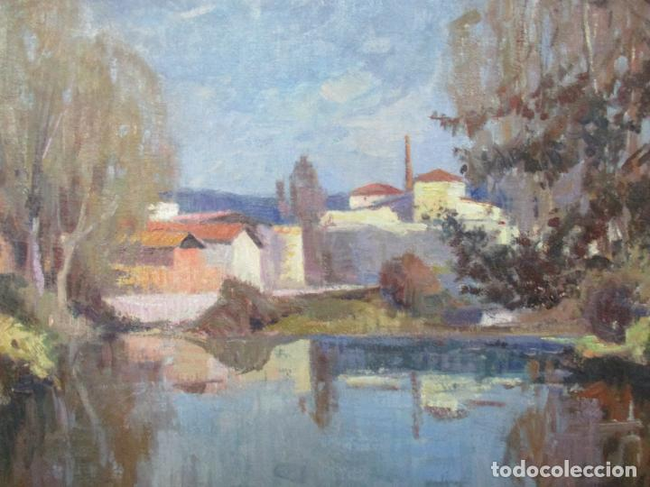 Arte: Ángel Codinach Campllonch (Olot 1922 -1995 Girona) - Paisaje Olot - Óleo sobre Tela - Foto 4 - 139782418
