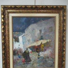 Arte: JOSEP SERRASANTA (BUENOS AIRES, 1916-VALLDOREIX, BARCELONA, 1998) - MARINA, PUEBLO PESQUERO. Lote 139926230