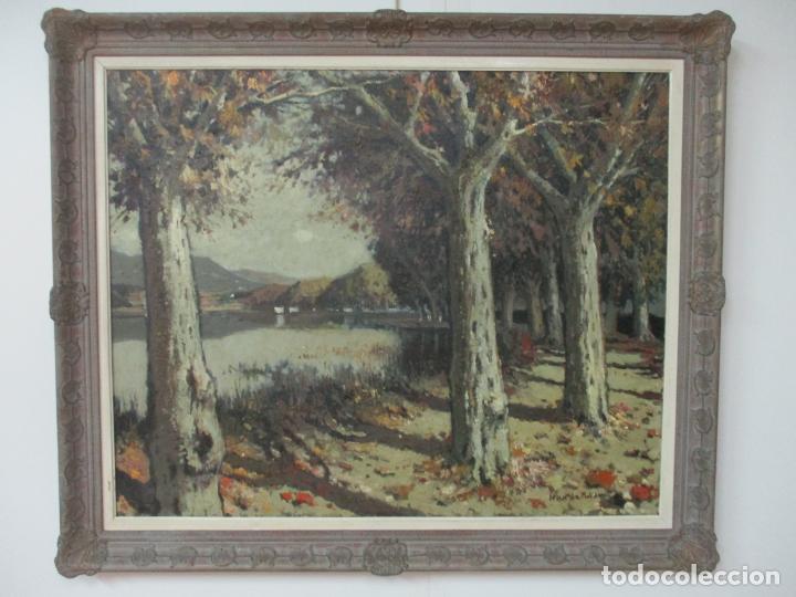 BONITA PINTURA - JOAN DE PALAU (FLAÇA 1919 - BANYOLES 1991) - PAISAJE, LLAC DE BANYOLES (Arte - Pintura - Pintura al Óleo Moderna sin fecha definida)