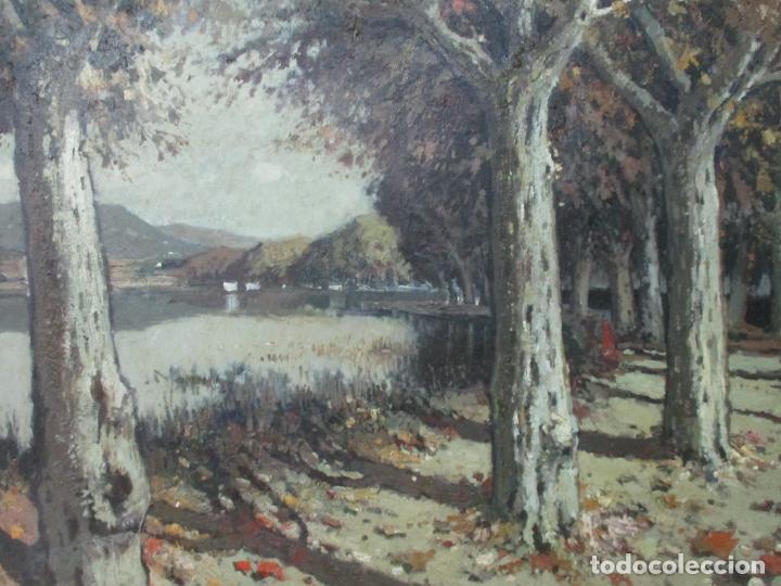 Arte: Bonita Pintura - Joan de Palau (Flaça 1919 - Banyoles 1991) - Paisaje, Llac de Banyoles - Foto 2 - 139927234