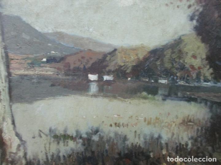 Arte: Bonita Pintura - Joan de Palau (Flaça 1919 - Banyoles 1991) - Paisaje, Llac de Banyoles - Foto 3 - 139927234