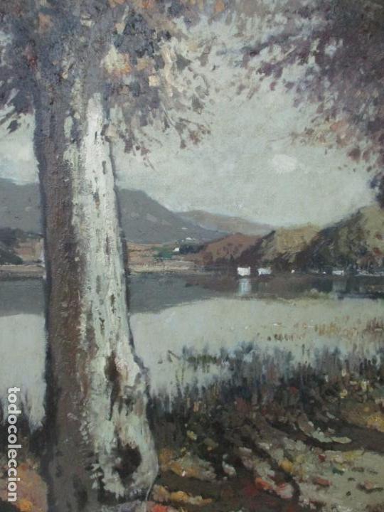 Arte: Bonita Pintura - Joan de Palau (Flaça 1919 - Banyoles 1991) - Paisaje, Llac de Banyoles - Foto 4 - 139927234