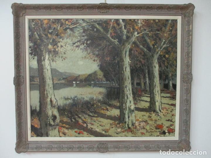 Arte: Bonita Pintura - Joan de Palau (Flaça 1919 - Banyoles 1991) - Paisaje, Llac de Banyoles - Foto 8 - 139927234