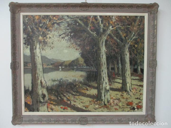 Arte: Bonita Pintura - Joan de Palau (Flaça 1919 - Banyoles 1991) - Paisaje, Llac de Banyoles - Foto 15 - 139927234