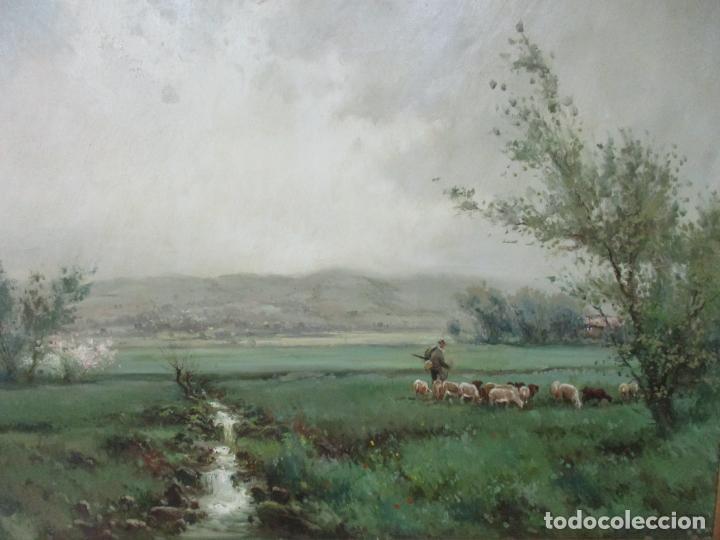 Arte: JOSEP COLOMER I COMAS (Sant Feliu de Pallerols. Girona 1935 - 2003) Bonito Paisaje con Rebaño - Foto 2 - 139929446