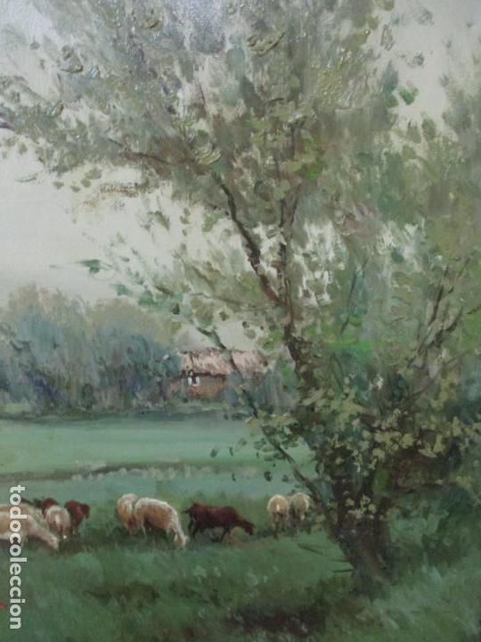 Arte: JOSEP COLOMER I COMAS (Sant Feliu de Pallerols. Girona 1935 - 2003) Bonito Paisaje con Rebaño - Foto 5 - 139929446