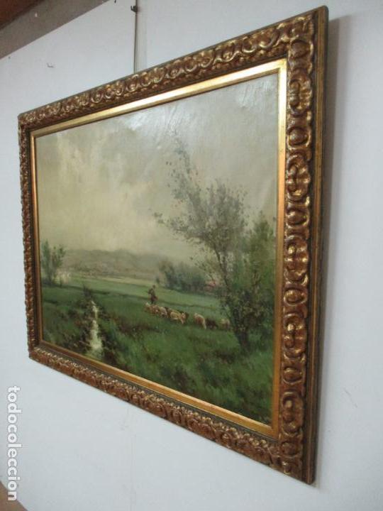 Arte: JOSEP COLOMER I COMAS (Sant Feliu de Pallerols. Girona 1935 - 2003) Bonito Paisaje con Rebaño - Foto 13 - 139929446
