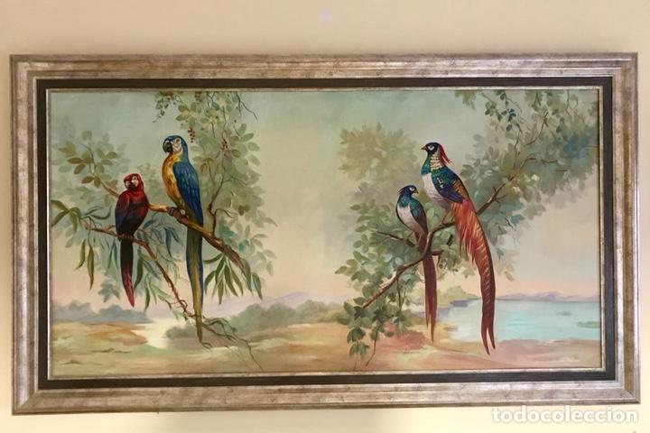 Arte: Pintura al óleo sobre lienzo. Aves exóticas. Mitad siglo XX. Muy decorativo. - Foto 2 - 139940682