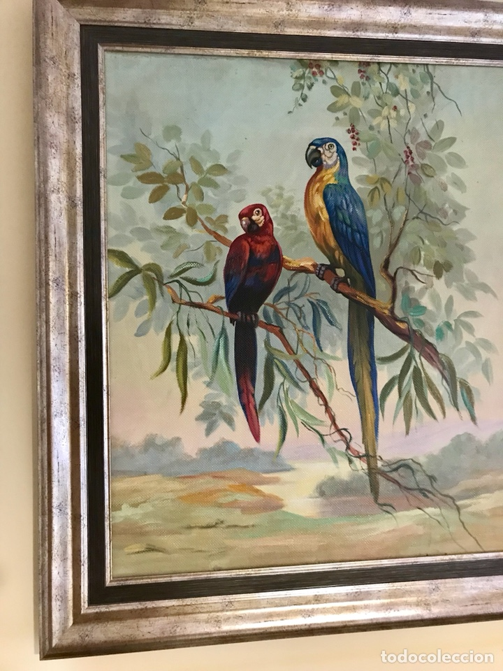 Arte: Pintura al óleo sobre lienzo. Aves exóticas. Mitad siglo XX. Muy decorativo. - Foto 3 - 139940682