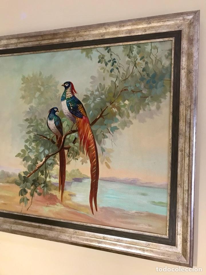 Arte: Pintura al óleo sobre lienzo. Aves exóticas. Mitad siglo XX. Muy decorativo. - Foto 4 - 139940682