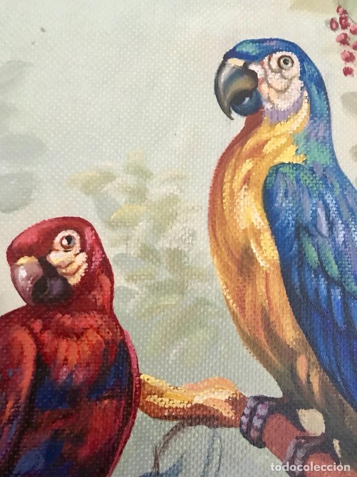 Arte: Pintura al óleo sobre lienzo. Aves exóticas. Mitad siglo XX. Muy decorativo. - Foto 10 - 139940682