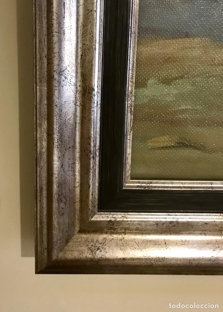 Arte: Pintura al óleo sobre lienzo. Aves exóticas. Mitad siglo XX. Muy decorativo. - Foto 12 - 139940682
