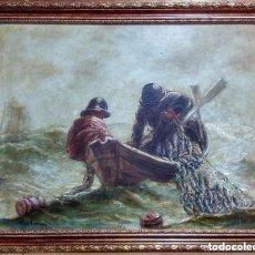 Arte: CUADRO AL OLEO PESCADORES FAENANDO. 109 CMS.. Lote 139956246