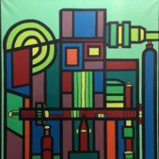 Arte: LODEIRO , XOSÉ TELMO . (VIGO, 1930 - 1996) A MÁQUINA. ÓLEO SOBRE LIENZO. Lote 140076246
