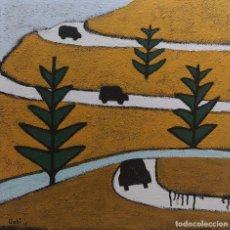 Arte: GABI CARRERA. CARRETERA. TÉCNICA MIXTA SOBRE TABLA. Lote 140081954