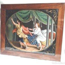Arte: ÓLEO SOBRE CRISTAL S XIX GIUSEPPE TENTATO DALLA MOGLIE DI PUTIFAR, MARCO MADERA DE NOGAL. Lote 140087174
