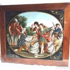 Arte: ÓLEO SOBRE CRISTAL S XIX NEL SACCO DEL GRANO DI BENIAMINO SI TROVA LA TASSA, MARCO MADERA DE NOGAL. Lote 140088370