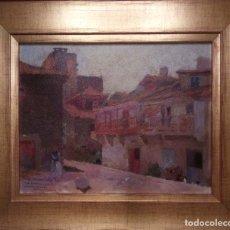 Kunst - Santiago Martínez Martín. Vista de pueblo gallego. Óleo sobre cartón (19 x 23 / 26 x 31 con marco) - 140142942
