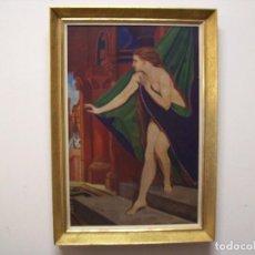 Arte: CONJUNTO DE CUADRO AL OLEO DE 1948 Y GRABADO ANTIGUO. Lote 140164682