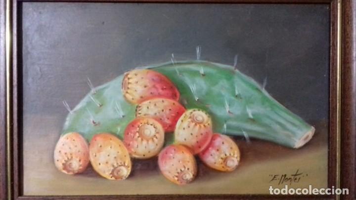 ENRIQUE MONTES. OLEO SOBRE TABLA ( 32X20,5). BODEGON DE CHUMBOS. (Arte - Pintura - Pintura al Óleo Contemporánea )