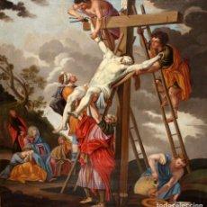 Arte: SEGUIDOR DE NICOLAS POUSSIN. OLEO SOBRE TELA DEL SIGLO XVII. LA CRUCIFIXION DE JESUS. Lote 140240534