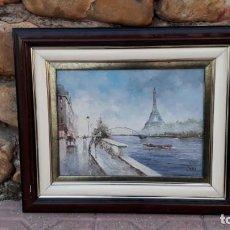 Arte: PINTURA IMPRESIONISTA PARIS TORRE EIFFEL, CUADRO OLEO SOBRE LIENZO FIRMADO PALSEY.. Lote 140324058
