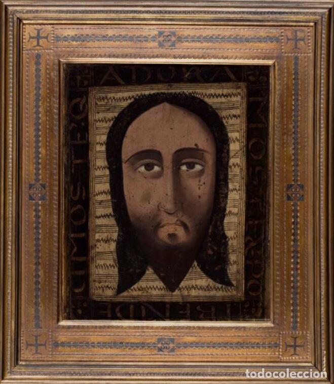 SANTA FAZ. S. XV-XVI IMPORTANTE GUADAMECÍ PINTADO. ESCUELA ESPAÑOLA (Arte - Pintura - Pintura al Óleo Antigua siglo XV)