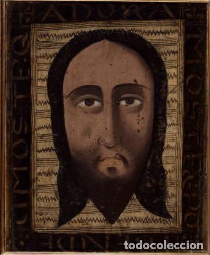 Arte: Santa faz. S. XV-XVI Importante Guadamecí pintado. Escuela española - Foto 3 - 140398848