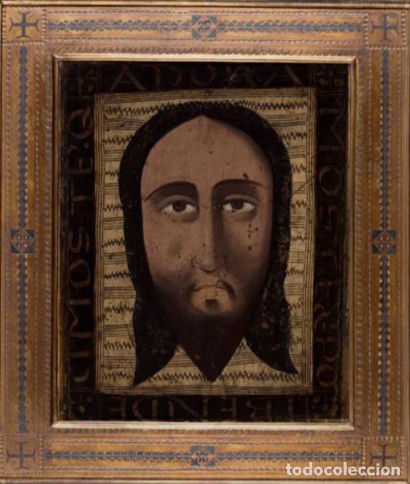 Arte: Santa faz. S. XV-XVI Importante Guadamecí pintado. Escuela española - Foto 5 - 140398848