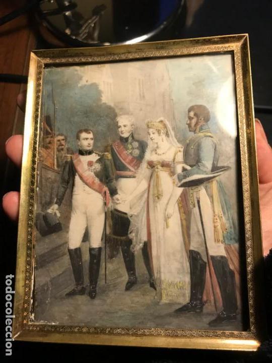 BODA DE NAPOLEON CON EMPERATRIZ M LUISA, MINIATURA FRANCESA S. XIX (Arte - Pintura - Pintura al Óleo Moderna siglo XIX)