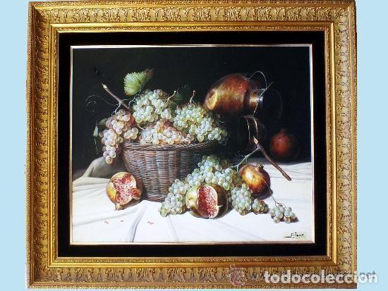 TORRES, MANUEL.-MADRID. -BODEGON-OLEO SOBRE LIENZO.85 X 70 CM. HIPERREALISMO.FIRMADO-MARCO DE LUJO (Arte - Pintura - Pintura al Óleo Contemporánea )
