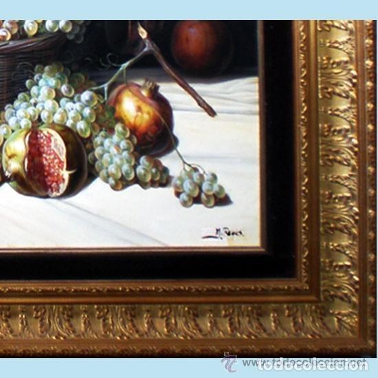 Arte: TORRES, MANUEL.-MADRID. -BODEGON-OLEO SOBRE LIENZO.85 X 70 CM. HIPERREALISMO.FIRMADO-MARCO DE LUJO - Foto 3 - 140448126