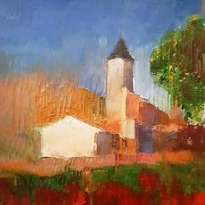 Arte: CUADRO OLEO SOBRE CARTON - POBLE - DE JOSEP MARFA GUARRO - BARCELONA -. Lote 140551262