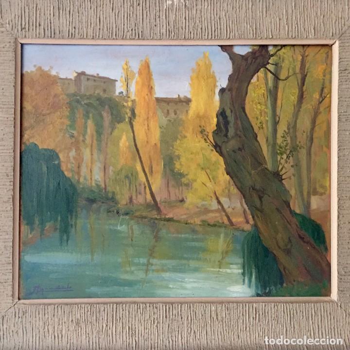 Arte: Óleo sobre tabla Paisaje Cuenca firmado - Foto 2 - 140575002