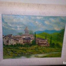 Arte - oleo impresionista sobre tabla enmarcado cuidadosamente, paisaje de aldea o pueblo, medida: 52x42 - 101137163