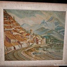 Arte: OLEO IMPRESIONISTA PAISAJE MARITIMO CON PUEBLO ACANTILADO ENMARCADO CUIDADOSAMENTE, MEDIDA: 67X58. Lote 133820282