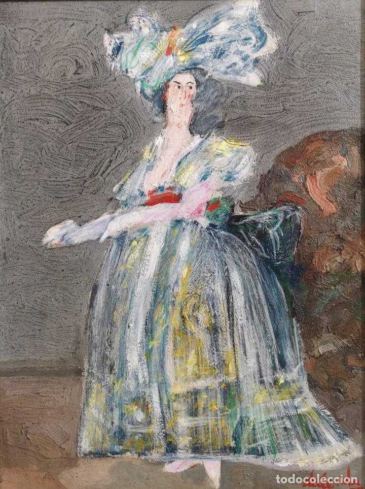 ABELENDA, ALFONSO (A CORUÑA, 1931). LA DAMA. TÉCNICA MIXTA SOBRE CARTÓN (Arte - Pintura - Pintura al Óleo Contemporánea )