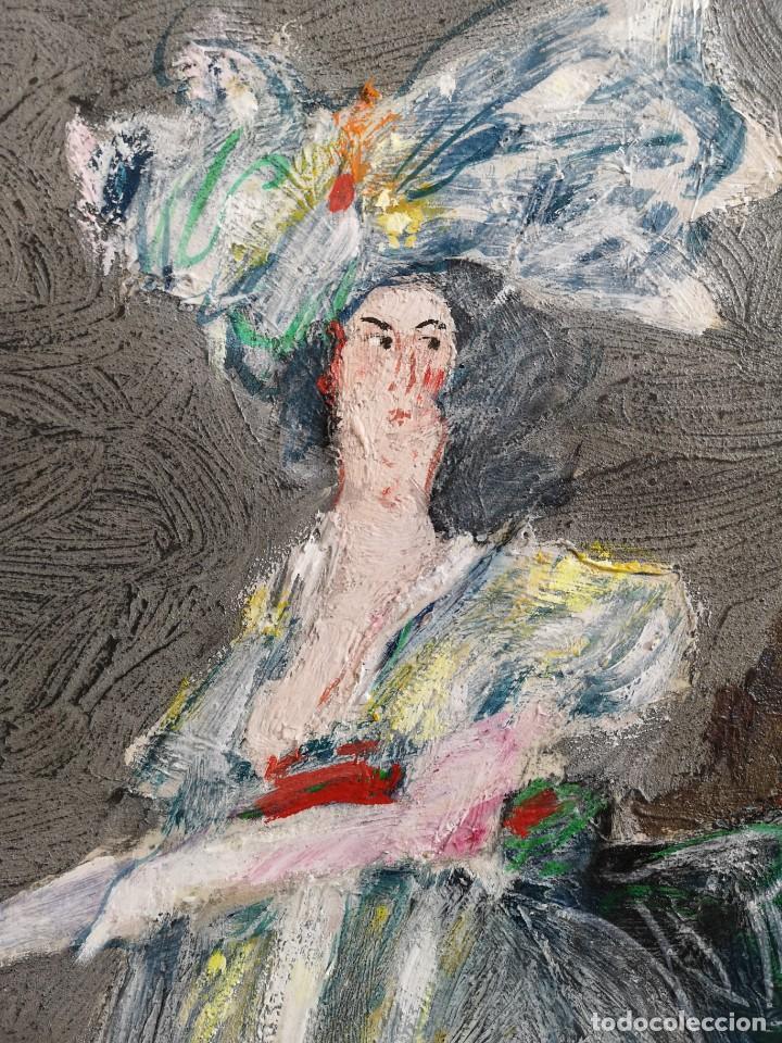 Arte: Abelenda, Alfonso (A Coruña, 1931). La dama. Técnica mixta sobre cartón - Foto 2 - 140712218