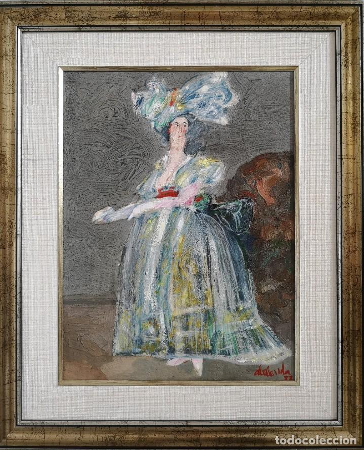 Arte: Abelenda, Alfonso (A Coruña, 1931). La dama. Técnica mixta sobre cartón - Foto 3 - 140712218