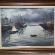 Arte: IMPRESIONANTE MARINA AL OLEO SOBRE LIENZO, BUENA CALIDAD, FIRMADA Y FECHADA. 125X100CM. Lote 140747541